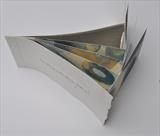 Tumbling with Blue Stones by Estella Scholes, Artist Book, Monoprint, folded, stabstitch binding