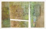 Under the Pier 2- green by Estella Scholes, Artist Print, Collagraph